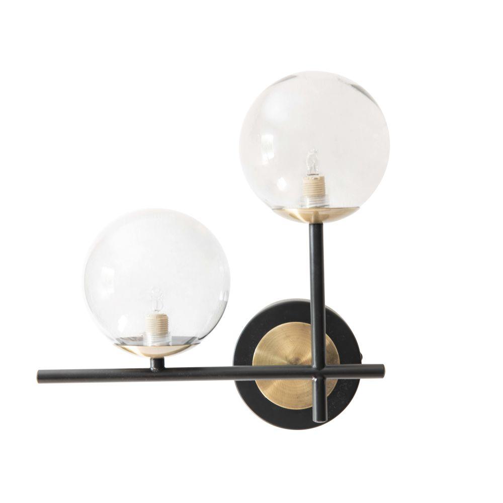 Applique double boules en verre et métal noir