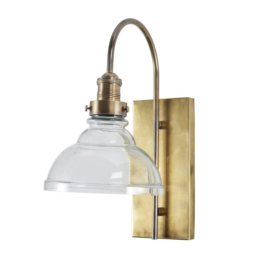 Applique en métal doré coloris laiton vieilli et verre