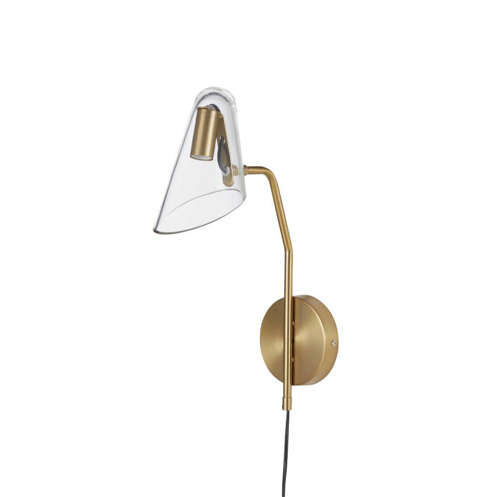 Applique en métal doré et abat-jour en verre