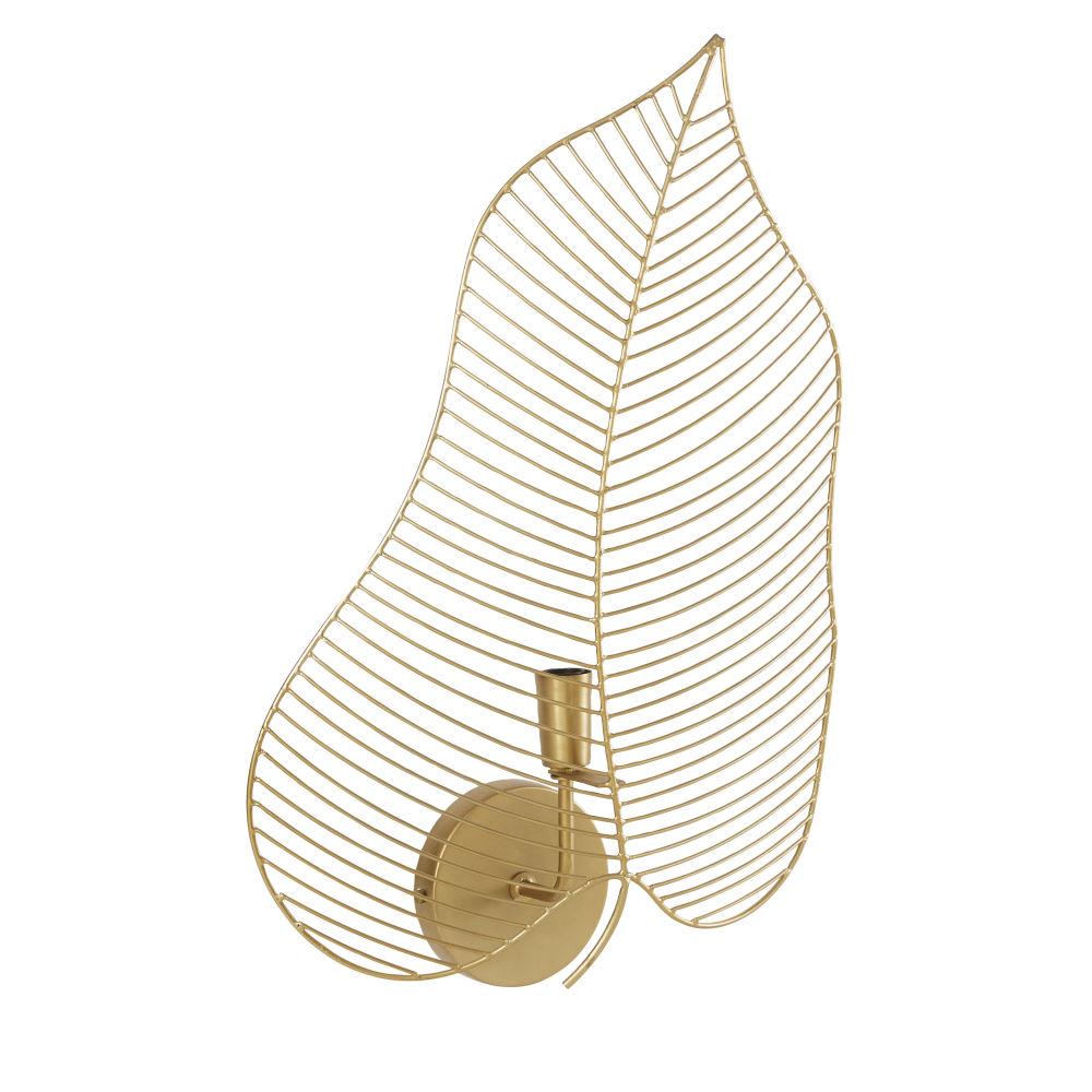 Applique filaire dorée feuille de palmier