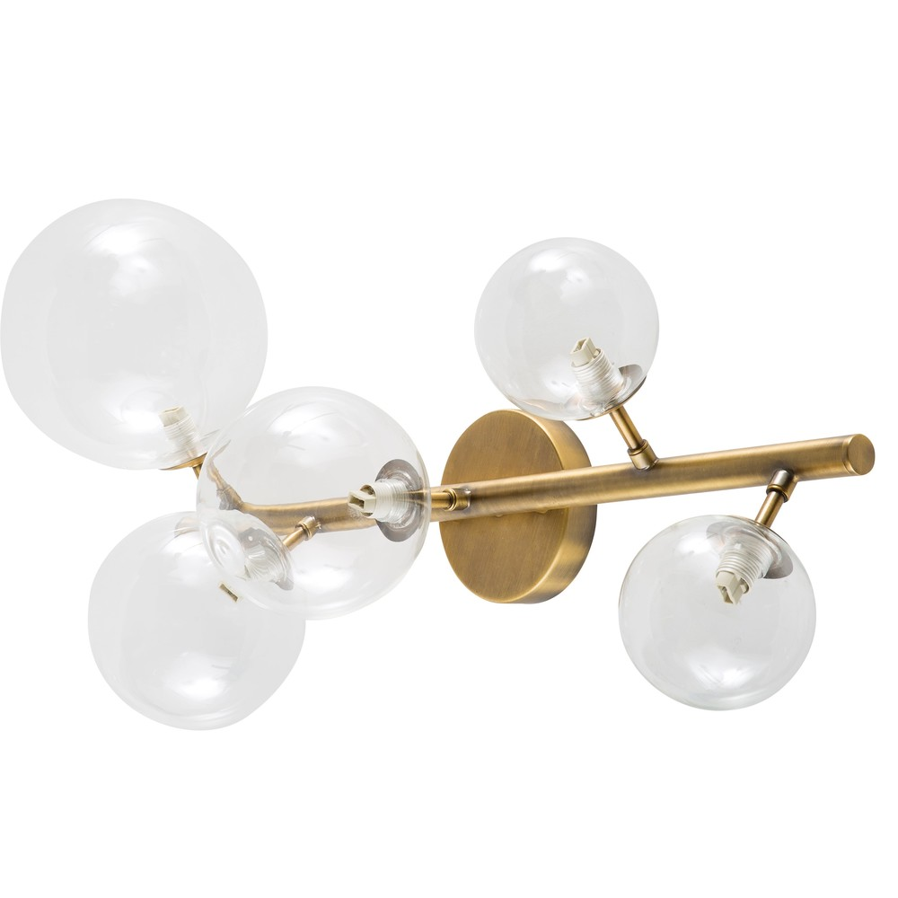 Applique globe en verre et métal bronze