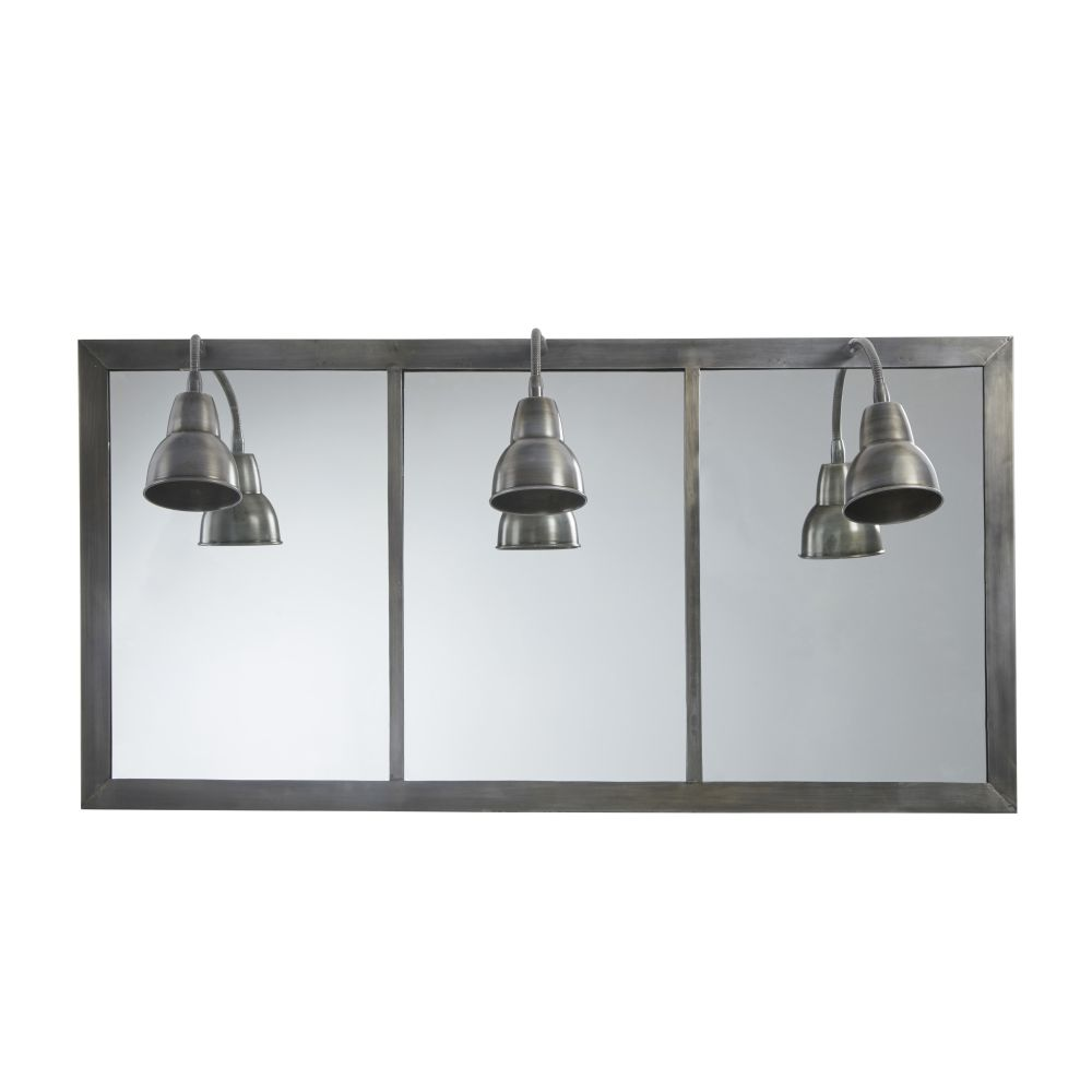 Applique indus miroir 3 abat-jour métal gris anthracite