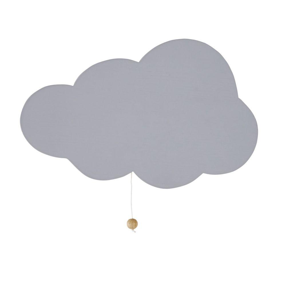 Applique nuage en pin gris