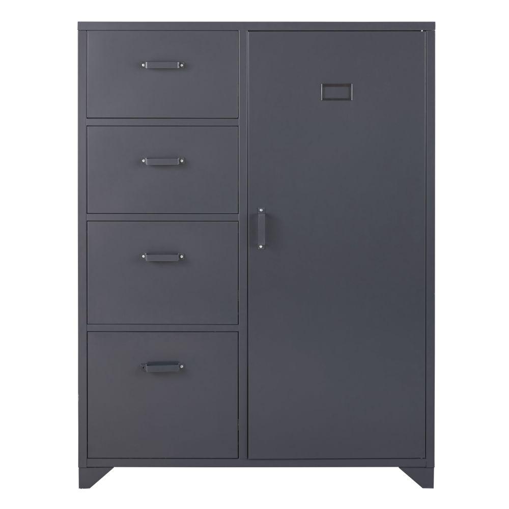 Armadio a 1 anta, 4 cassetti in metallo grigio antracite