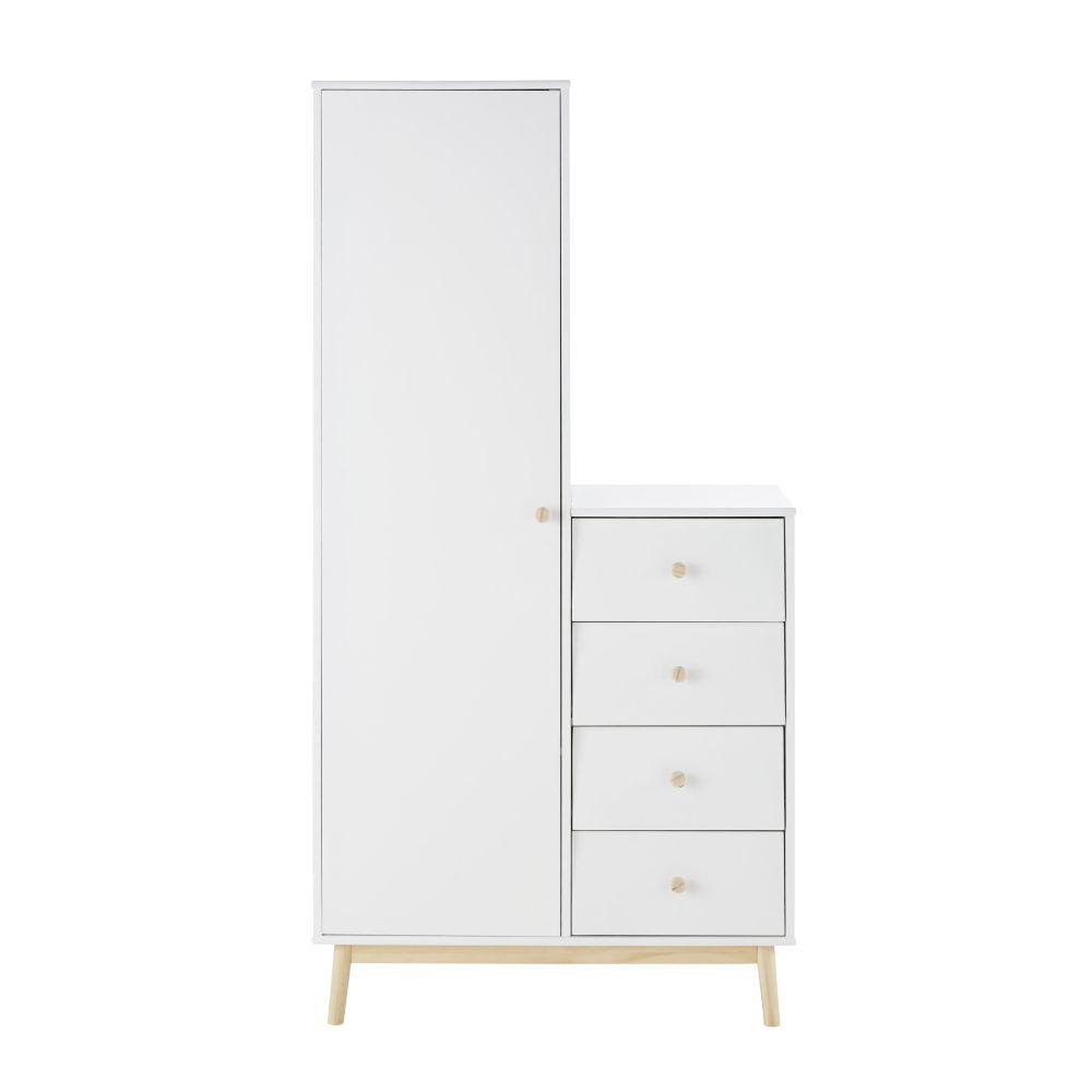Armoire 1 porte 4 tiroirs blanche