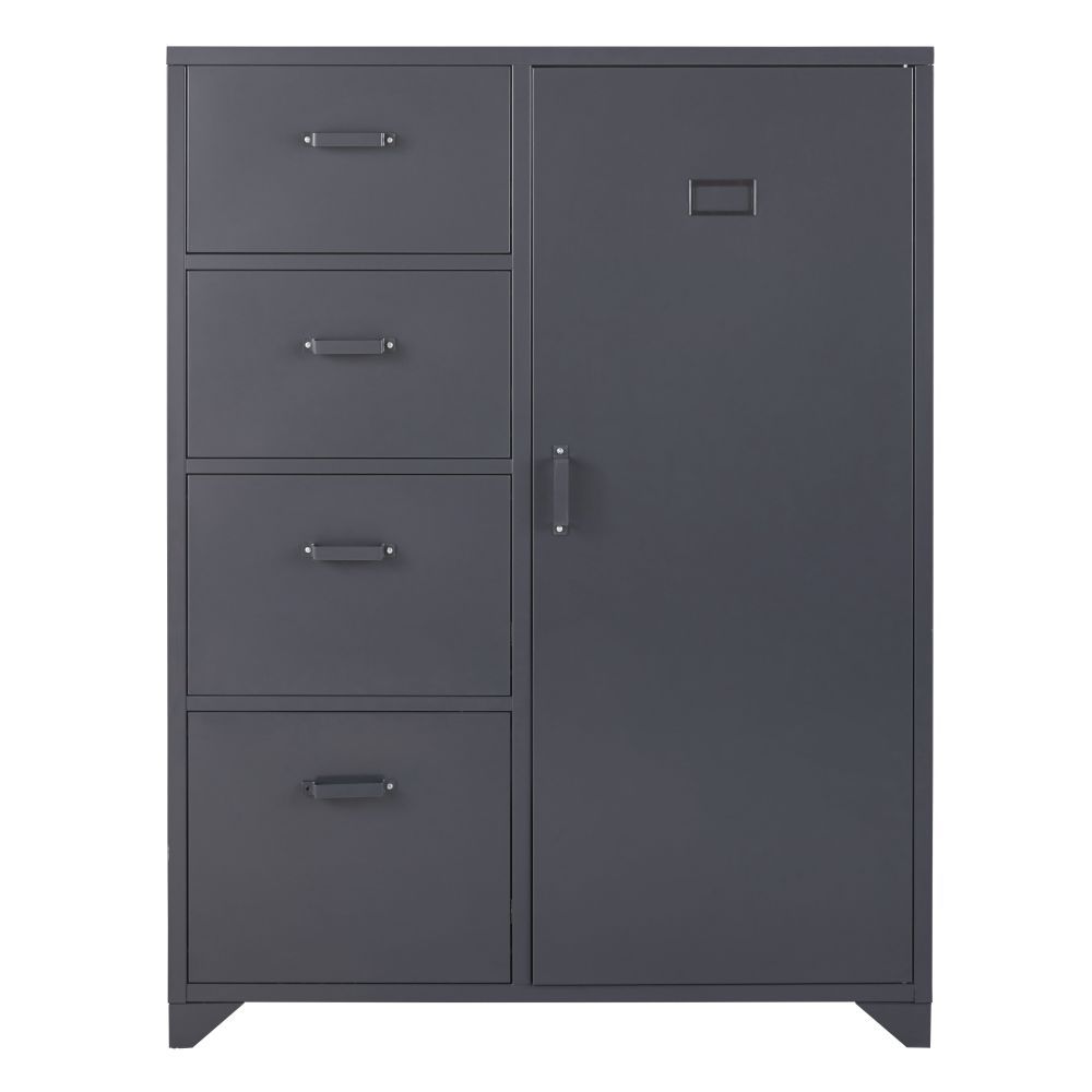 Armoire 1 porte 4 tiroirs en métal gris anthracite