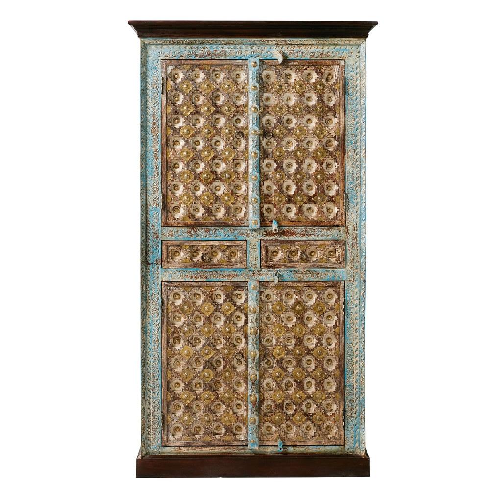 Armoire 2 portes en manguier massif et métal