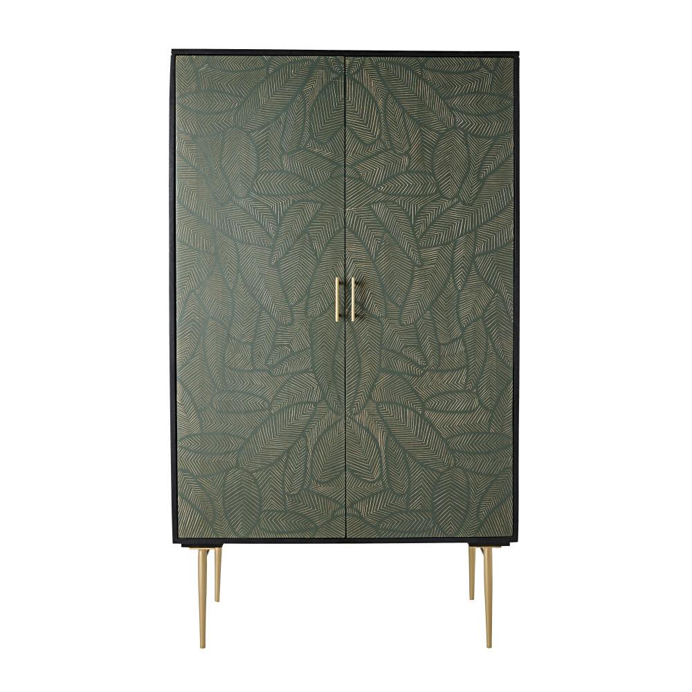 Armoire 2 portes en manguier massif noir sculpté motifs feuilles