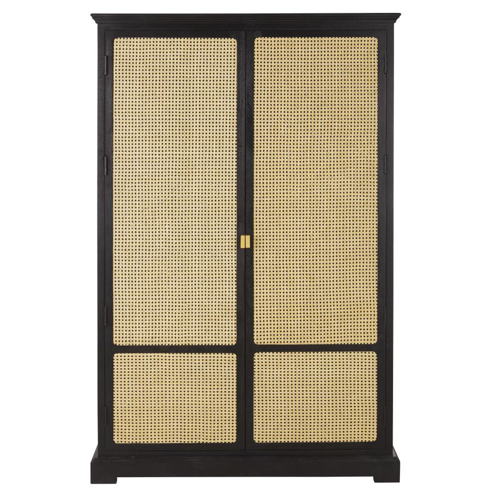 Armoire 2 portes noire cannage en rotin