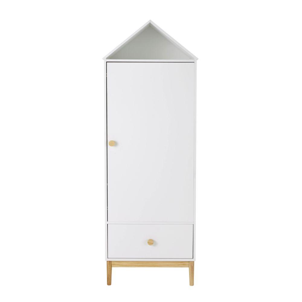 Armoire bonnetière cabane 1 porte 1 tiroir blanche