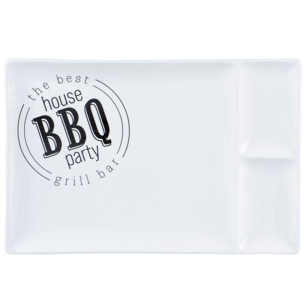 Assiette à barbecue en porcelaine blanche et noire
