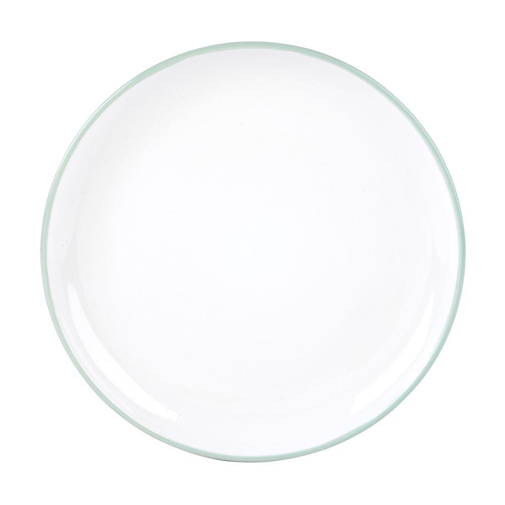 Assiette à dessert en faïence blanche et bleue