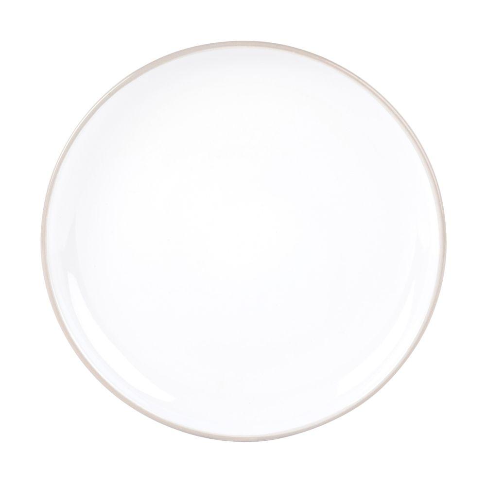 Assiette à dessert en faïence blanche et grise