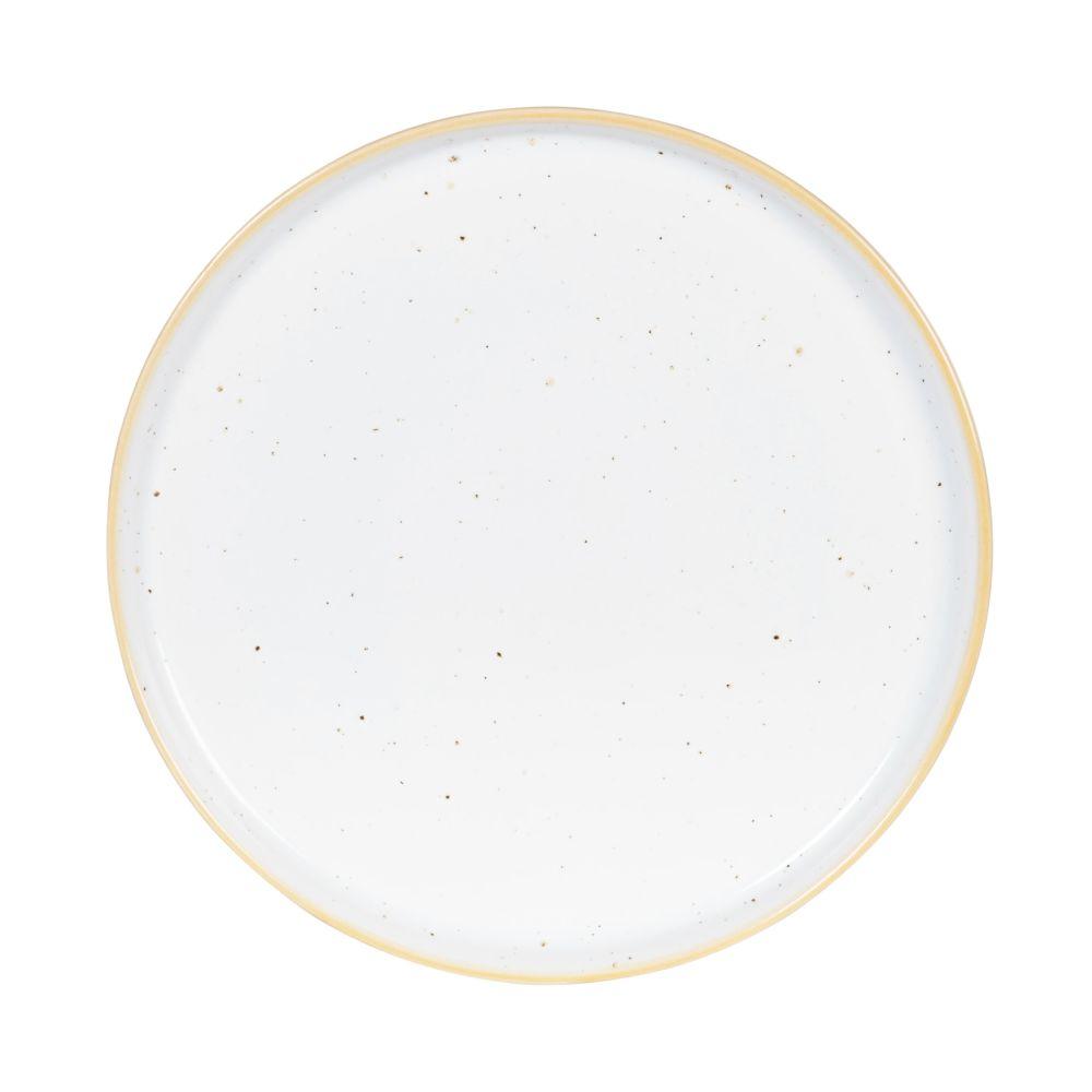 Assiette à dessert en faïence blanche et jaune