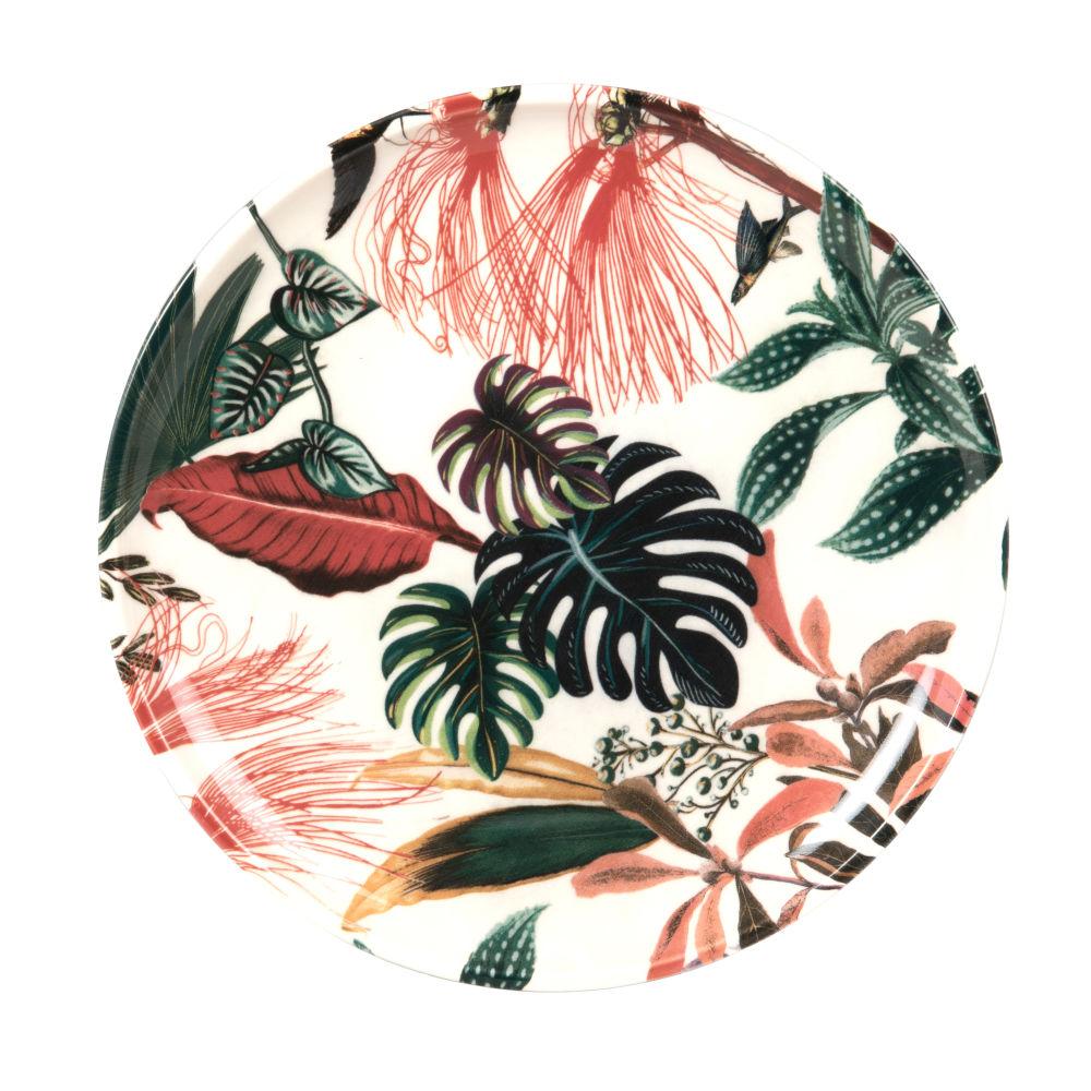 Assiette à dessert en faïence blanche motif végétal multicolore