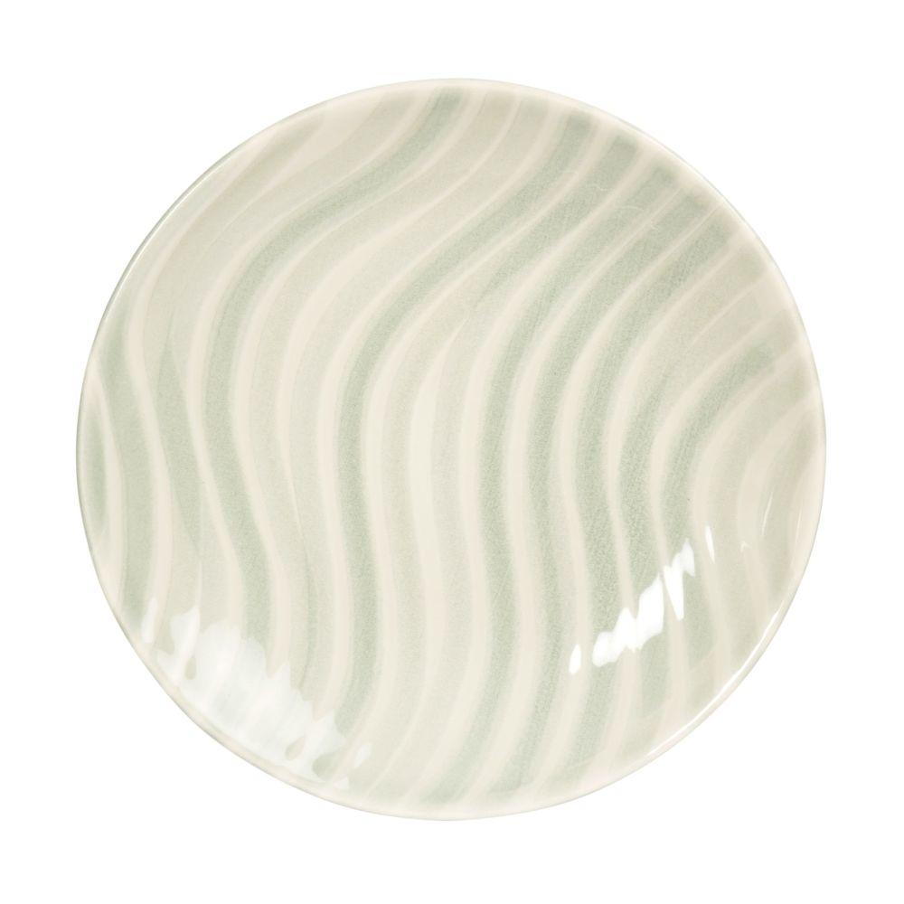 Assiette à dessert en faïence blanche motifs vagues bleu clair