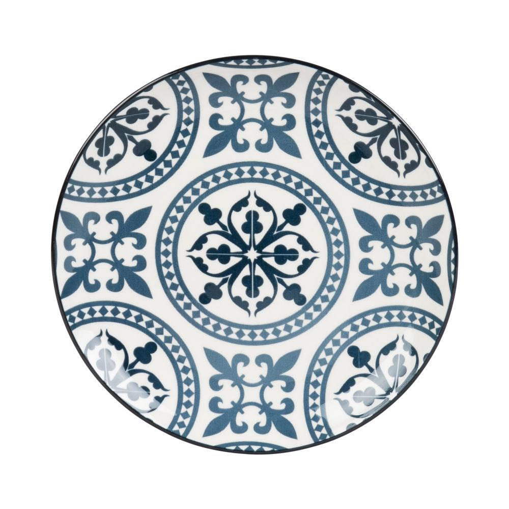 Assiette à dessert en faïence bleue et blanche motifs graphiques