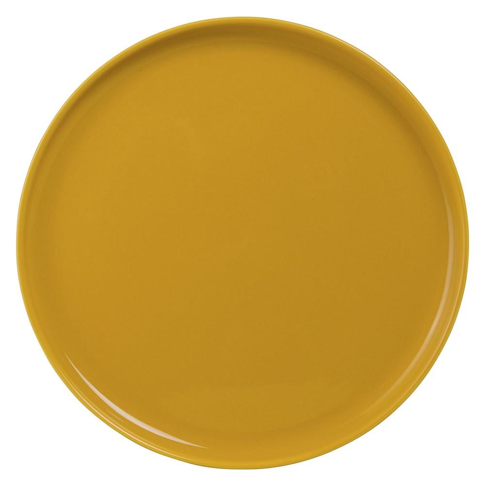 Assiette à dessert en faïence jaune moutarde