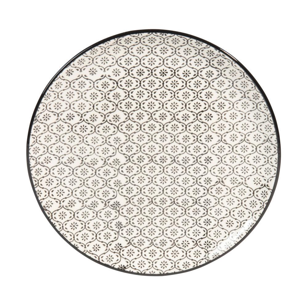 Assiette à dessert en faïence micromotif noir/blanc D 21 cm