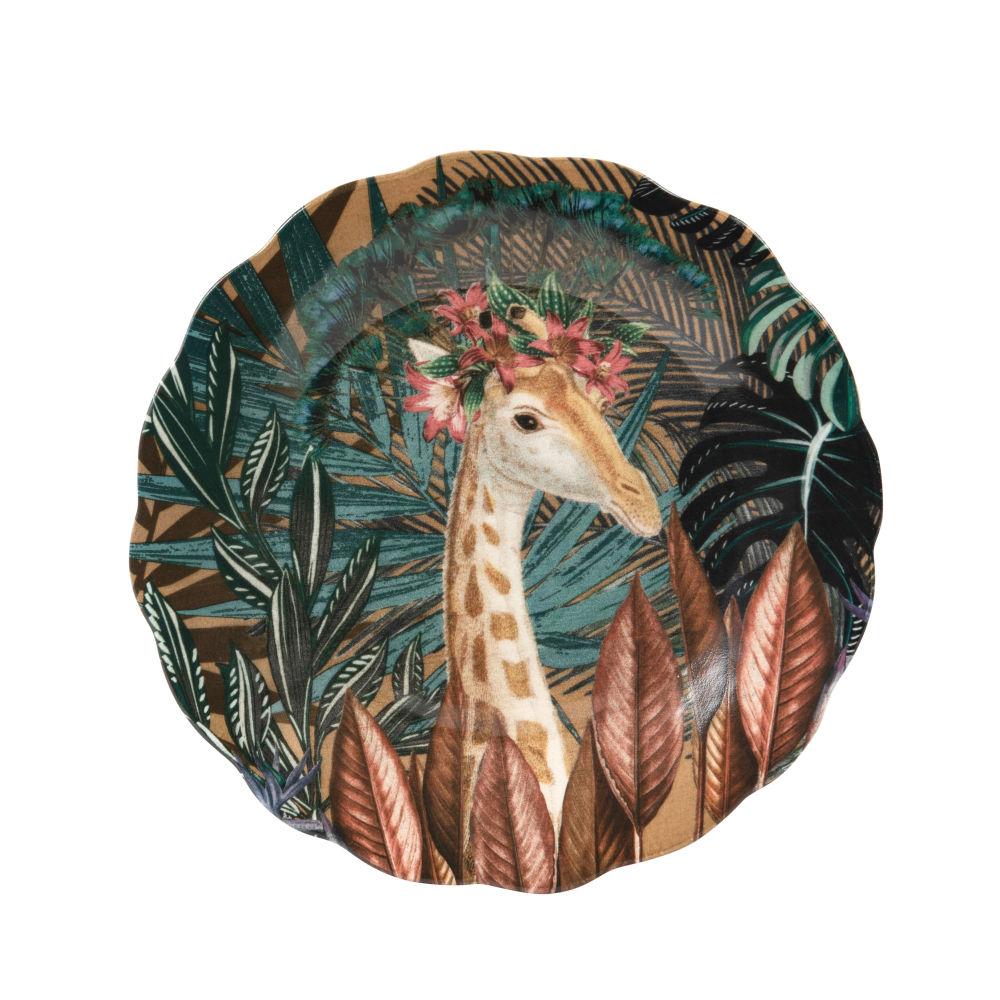 Assiette à dessert en faïence multicolore motif tropical et girafe