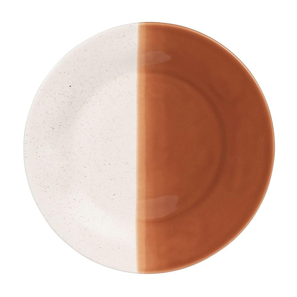 Assiette à dessert en grès blanc et orange