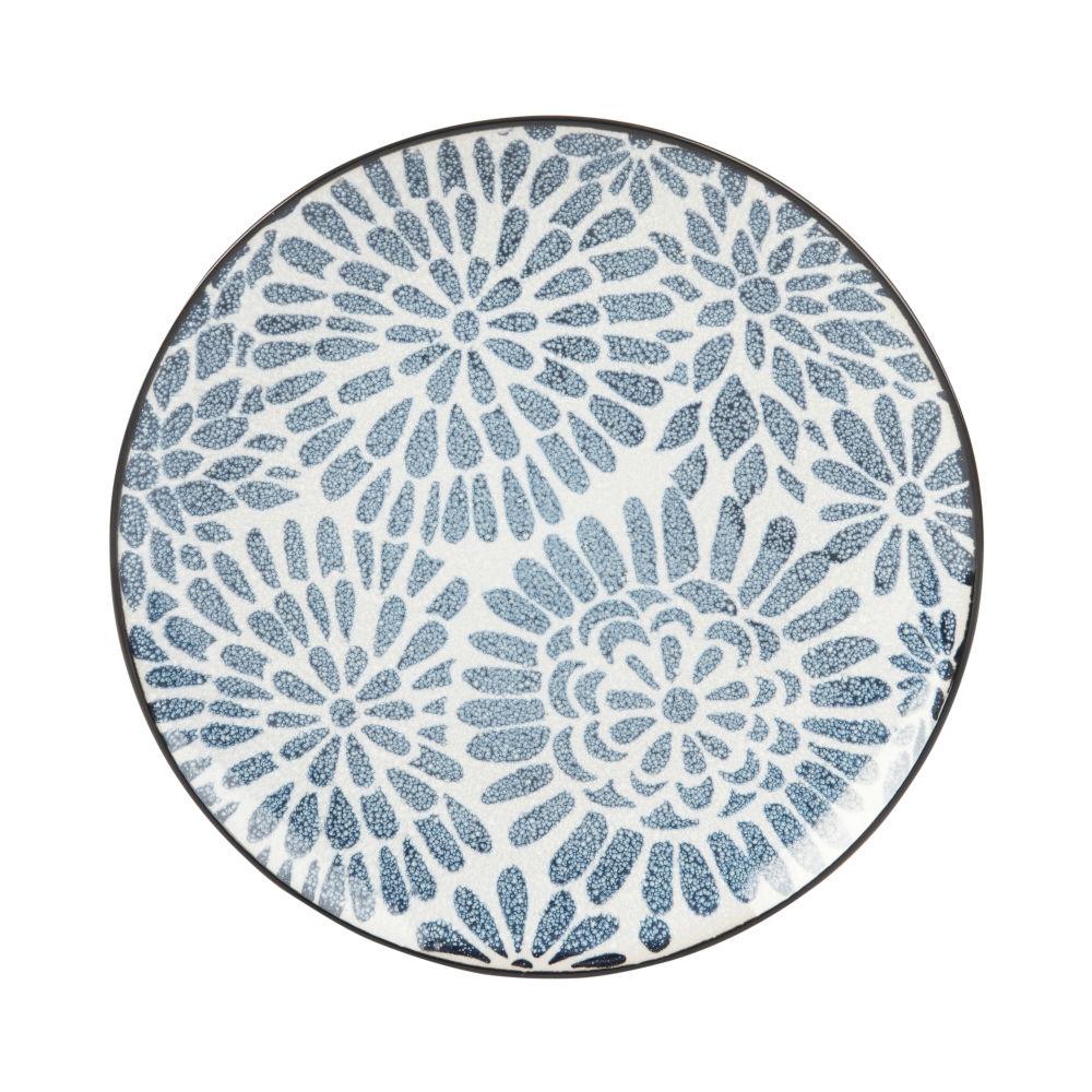 Assiette à dessert en grès blanc motifs graphiques bleus
