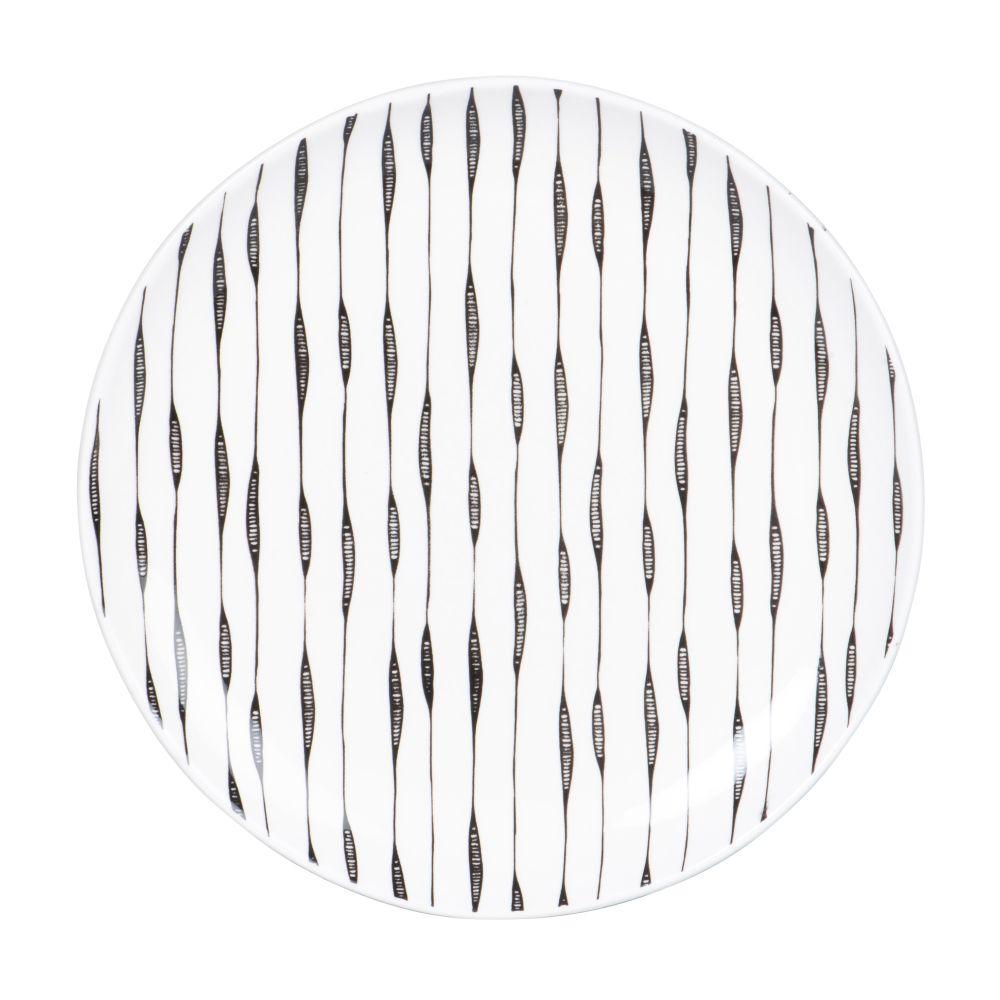 Assiette à dessert en grès blanc motifs traits noirs