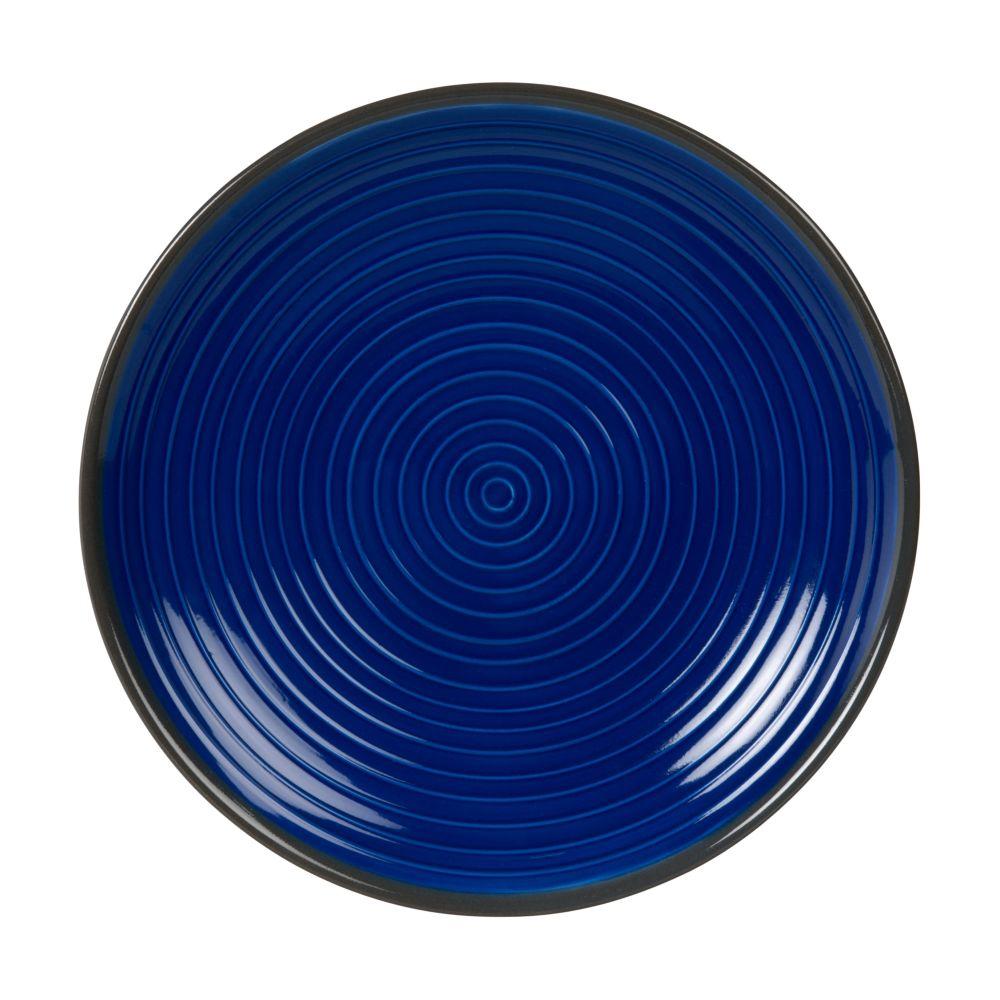 Assiette à dessert en grès bleu et terracotta