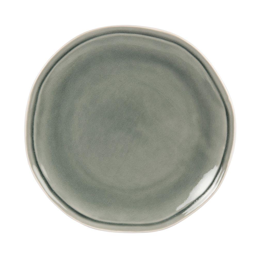 Assiette à dessert en grès gris