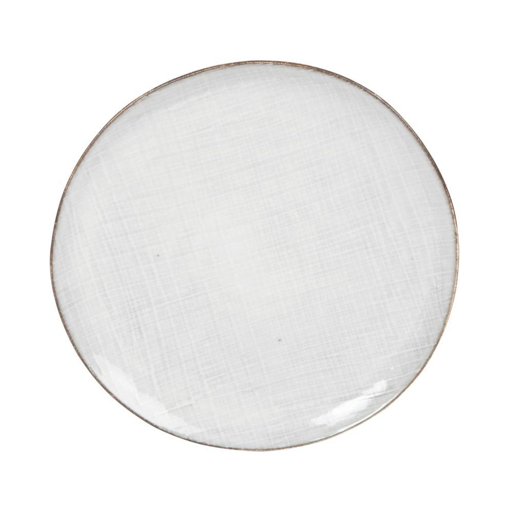 Assiette à dessert en grès gris clair