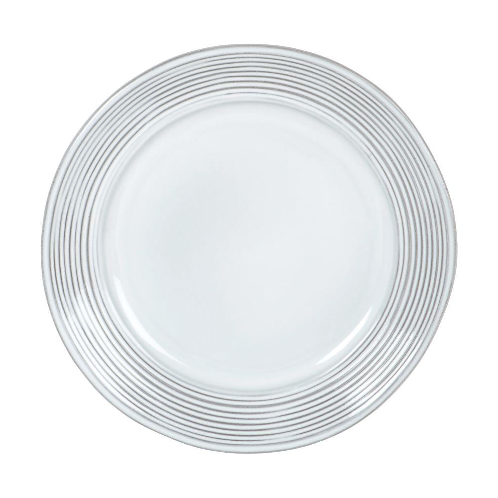 Assiette à dessert en grès gris motifs à rayures