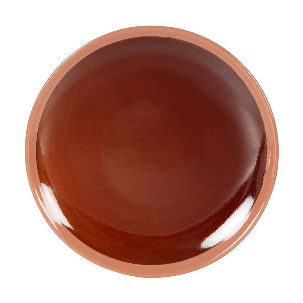 Assiette à dessert en grès marron brillant