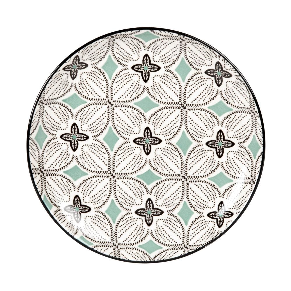 Assiette à dessert en grès motifs graphiques bleu gris, verts et blancs