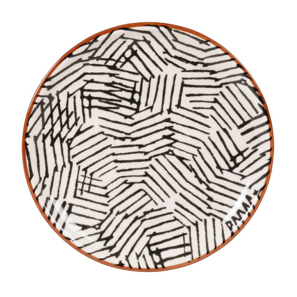 Assiette à dessert en grès motifs graphiques écrus et noirs