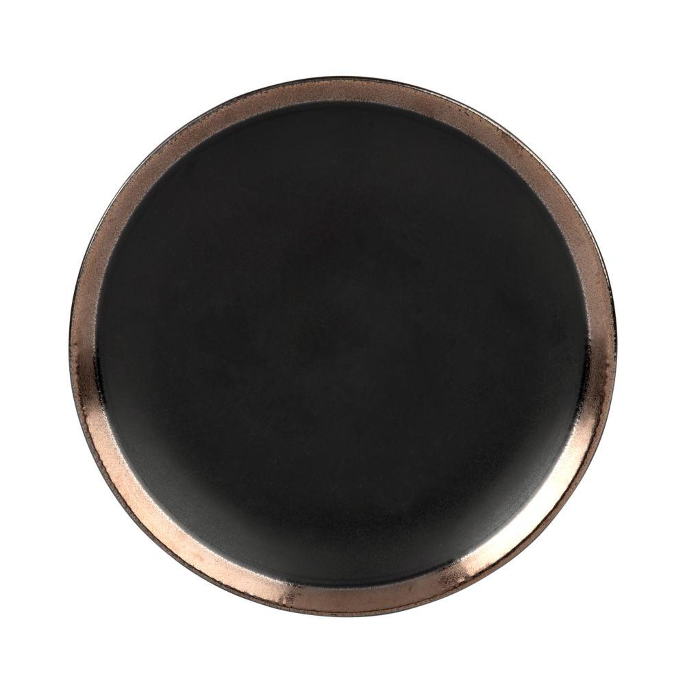 Assiette à dessert en grès noir (photo)