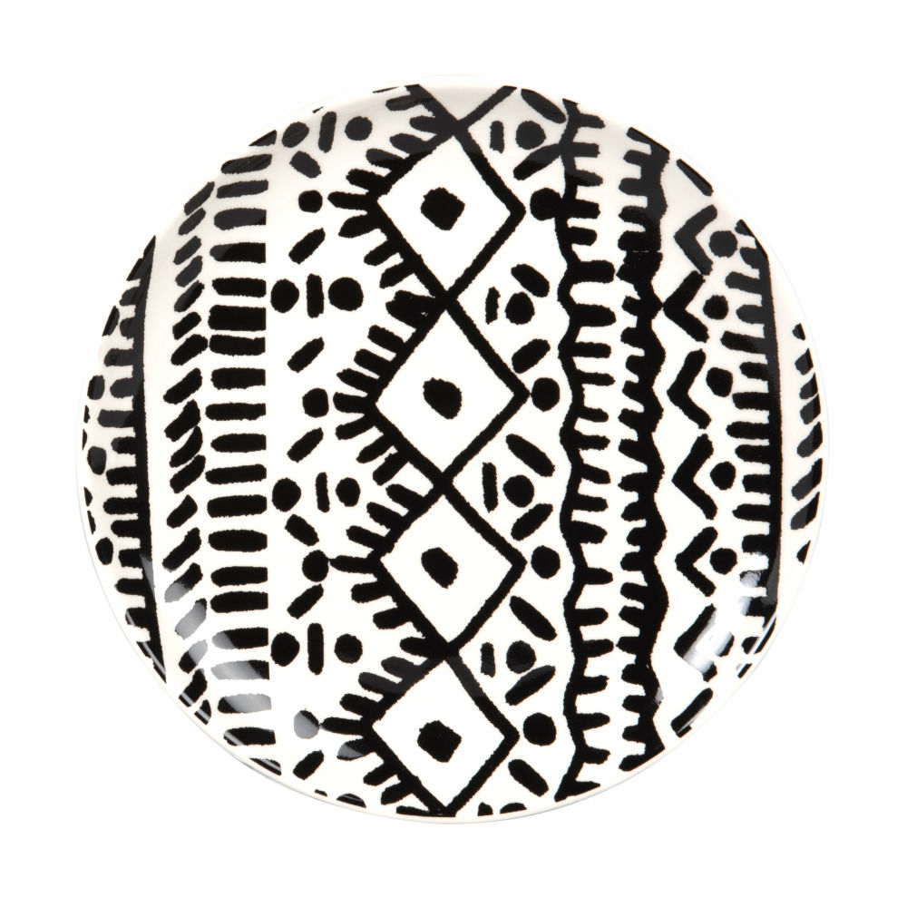 Assiette à dessert en grès noir et blanc à motifs