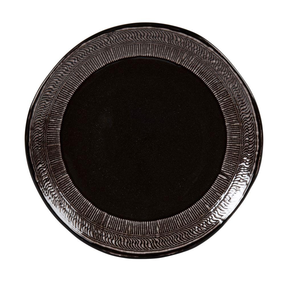 Assiette à dessert en grès noir et gris