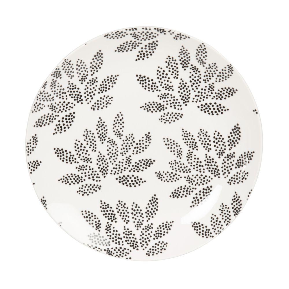 Assiette à dessert en porcelaine blanche à motifs noirs