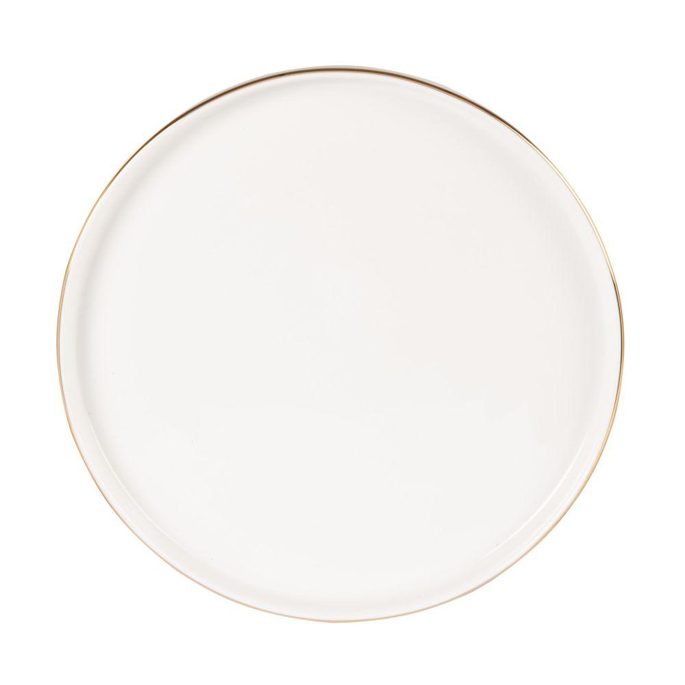Assiette à dessert en porcelaine blanche et dorée