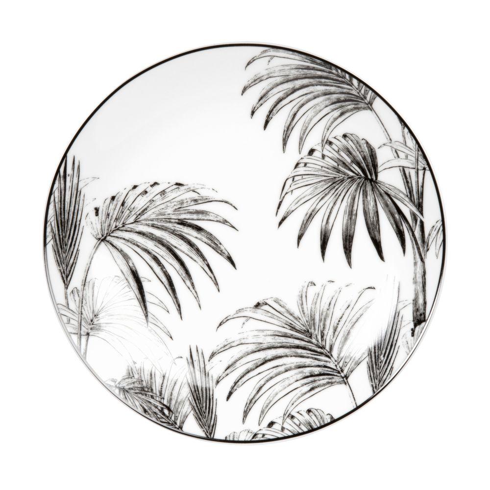 Assiette à dessert en porcelaine blanche et noire imprimé palmes
