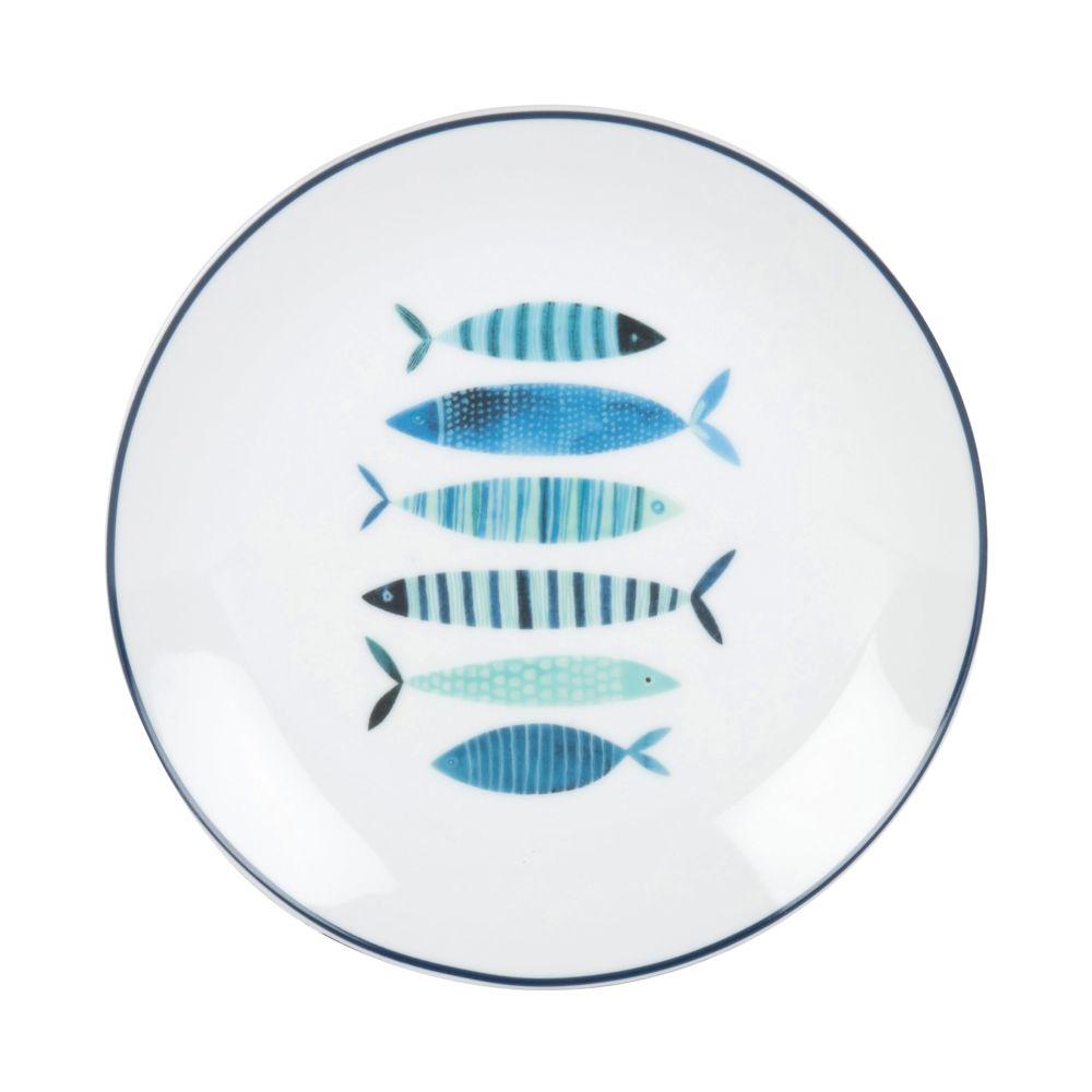Assiette à dessert en porcelaine blanche imprimé poissons bleus (photo)