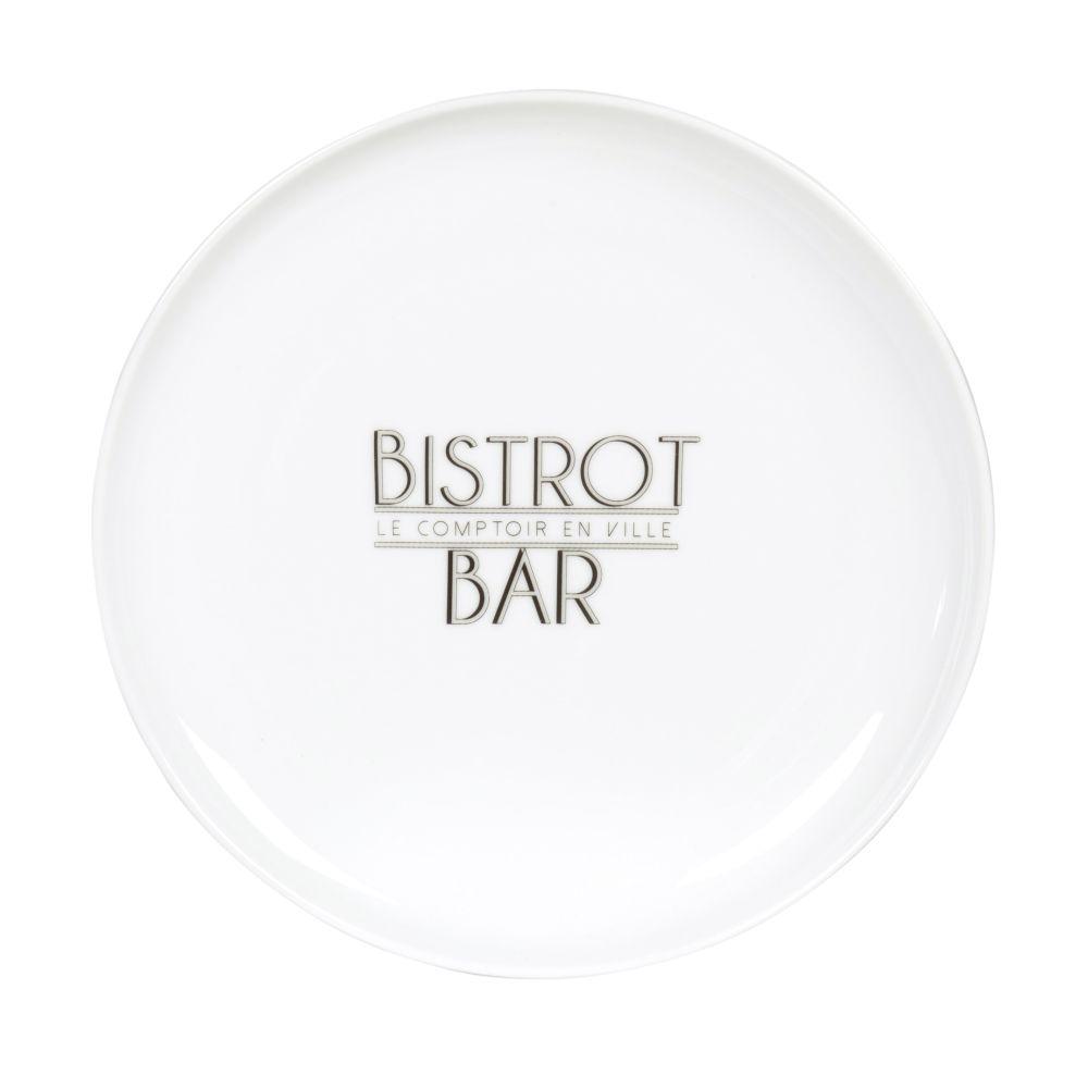 Assiette à dessert en porcelaine blanche imprimée