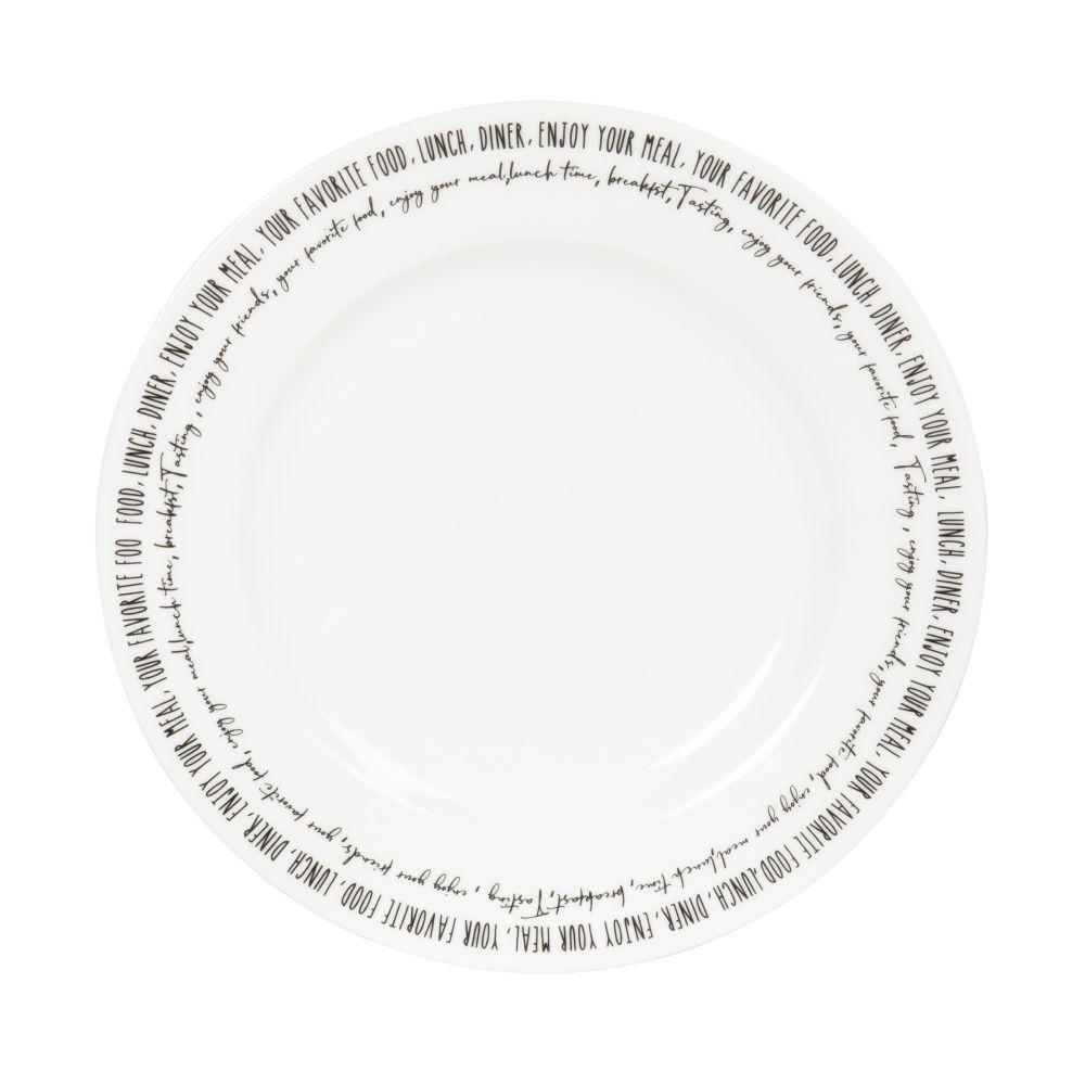 Assiette à dessert en porcelaine blanche inscriptions noires