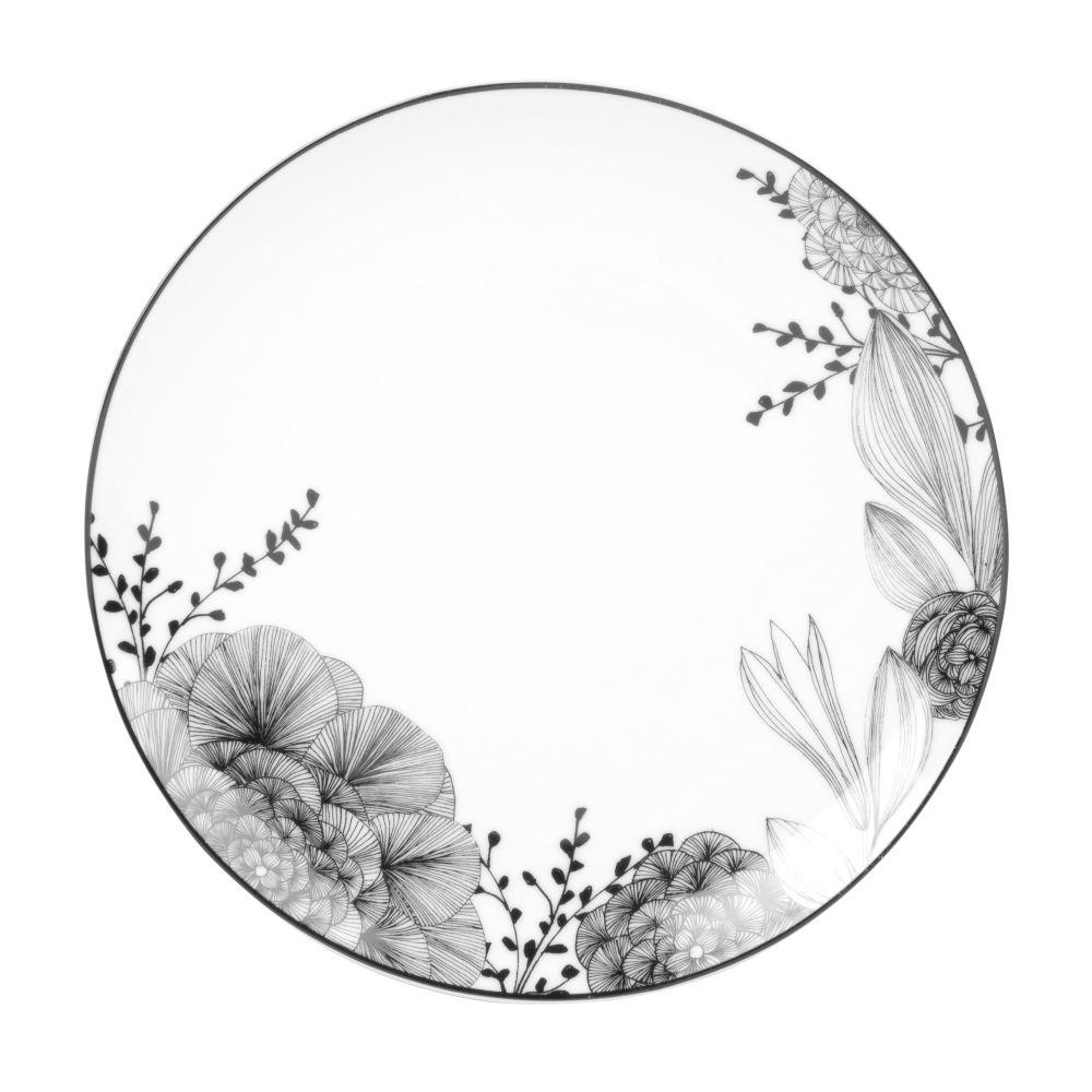 Assiette à dessert en porcelaine blanche motif floral