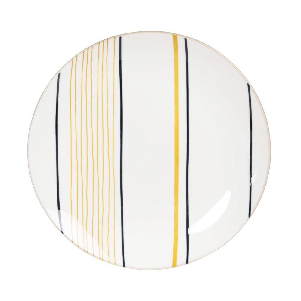 Assiette à dessert en porcelaine blanche motifs à rayures noires et moutarde