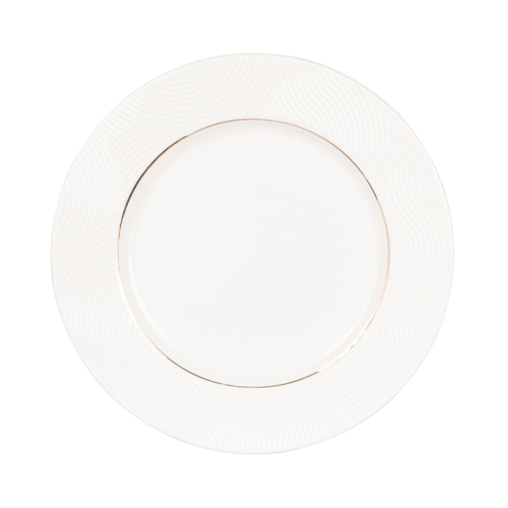 Assiette à dessert en porcelaine blanche motifs graphiques dorés