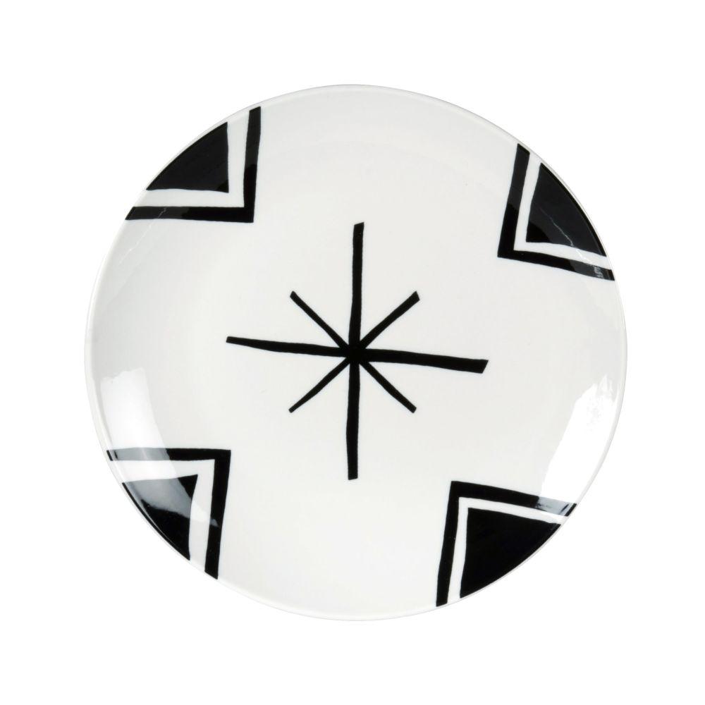 Assiette à dessert en porcelaine blanche motifs graphiques noirs