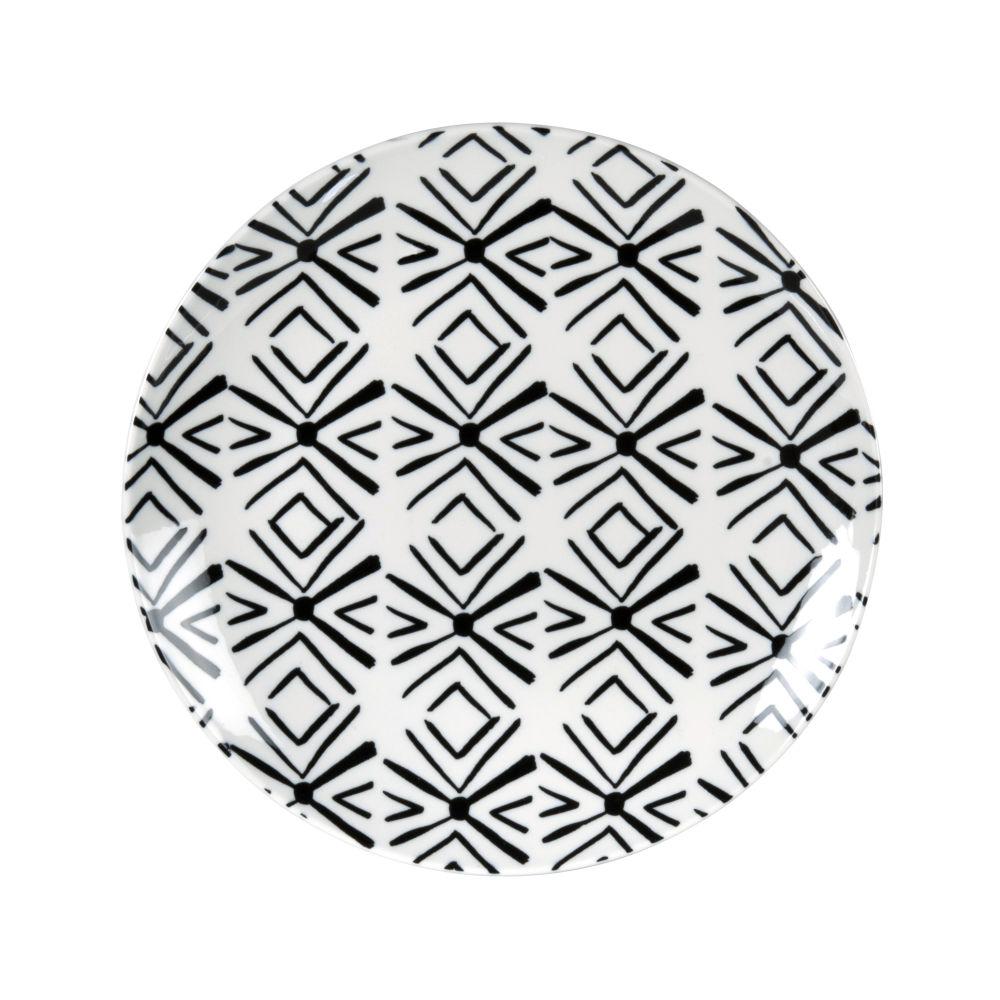 Assiette à dessert en porcelaine motifs graphiques blancs et noirs