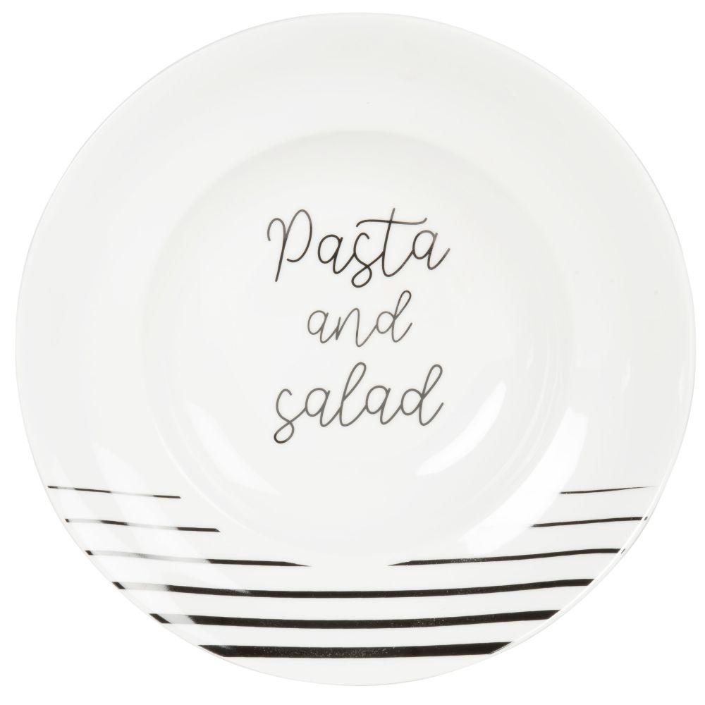 Assiette à pâtes en porcelaine blanche inscriptions noires