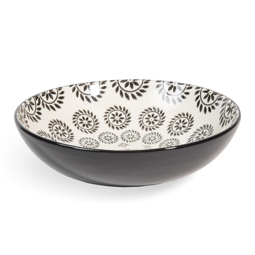 Assiette creuse en faïence noire/blanche D 20 cm